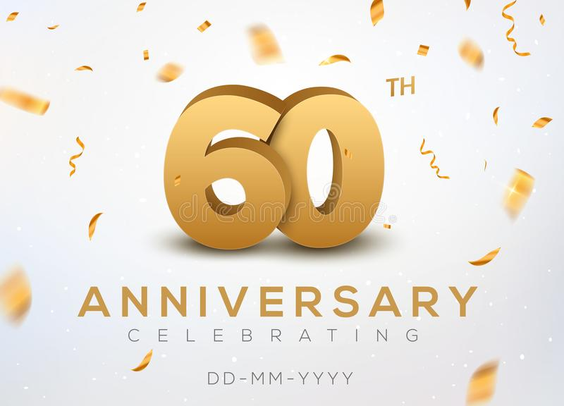 60 Anniversary gold numbers with golden confetti. Celebration 60th anniversary event party template vector illustration