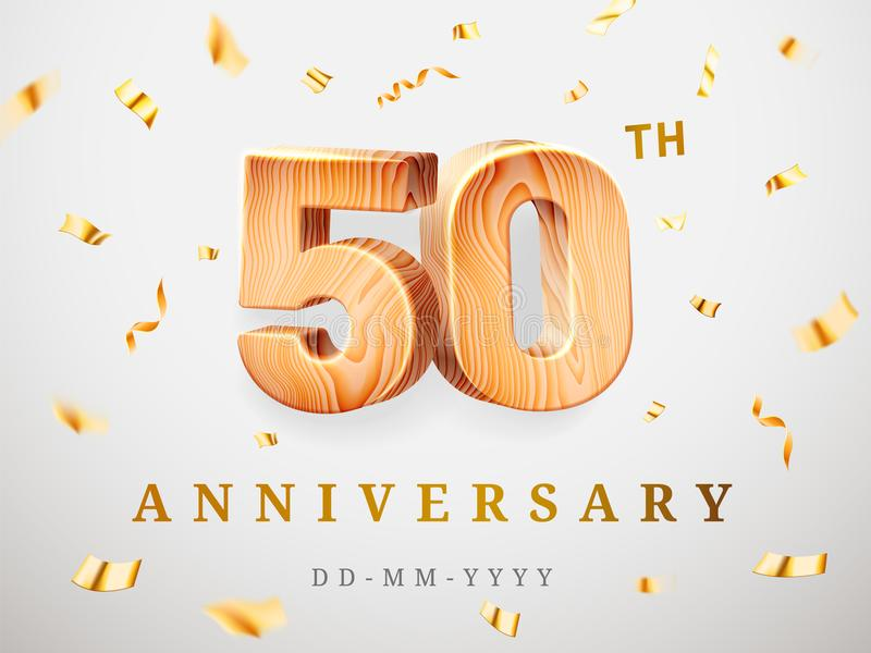 50 anniversary gold wooden numbers with golden confetti. Celebration 50th anniversary, number five and zero. Template. 50 anniversary gold wooden numbers with royalty free illustration