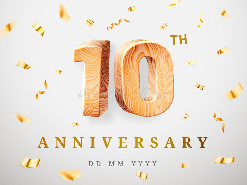 10 anniversary gold wooden numbers with golden confetti. Celebration 10th anniversary, number one and zero Template vector illustration