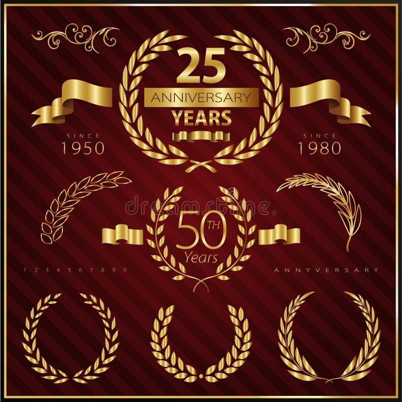 Anniversary golden emblems and decorative elements vector illustration