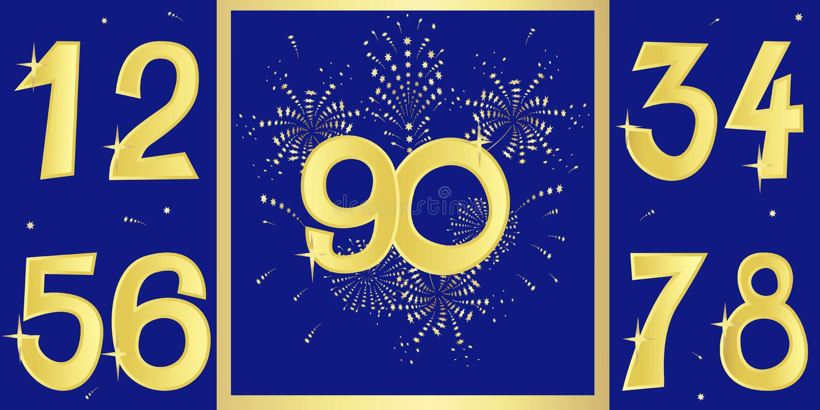 Anniversary golden numbers and a pattern with fireworks. Vector illustration vector illustration