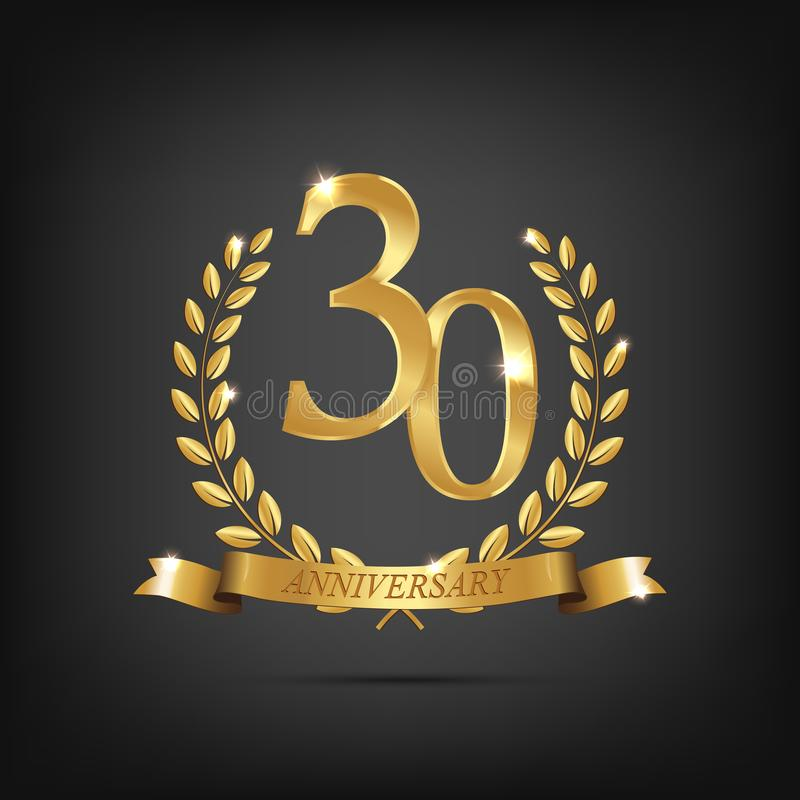 30 Anniversary Golden Symbol Golden Laurel Wreaths With Ribbons And