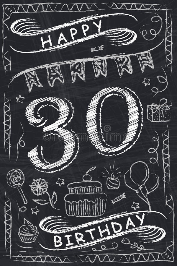 Anniversary Happy Birthday Card Design on Chalkboard stock illustration
