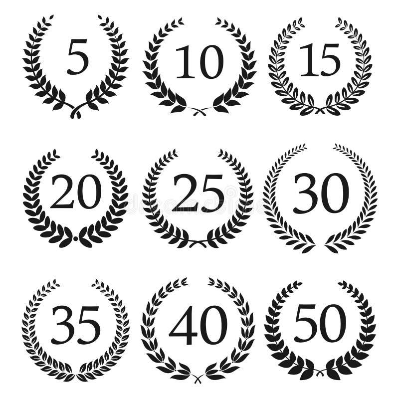 Anniversary and jubilee laurel wreaths icons stock vector download anniversary and jubilee laurel wreaths icons stock vector illustration of icon heraldry stopboris Images