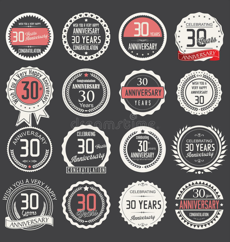 Anniversary label collection, 30 years. Anniversary badges and label collection, 30 years royalty free illustration