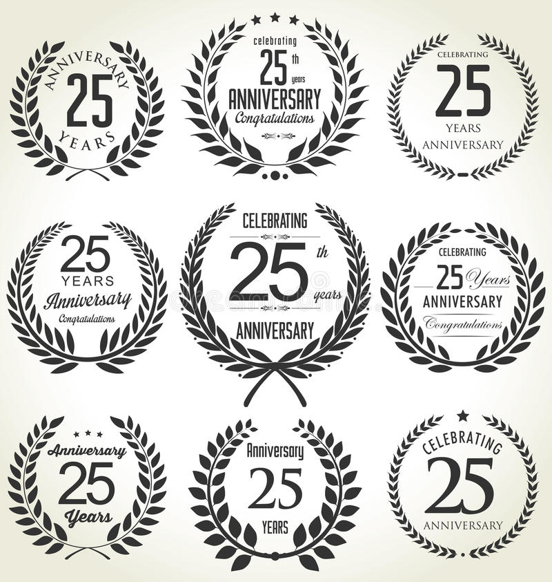 Anniversary laurel wreath collection, 25 years royalty free illustration