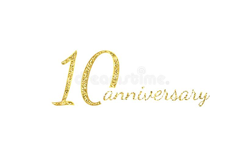 10 anniversary logo concept. 10th years birthday icon. Isolated golden numbers on black background. Vector illustration stock illustration