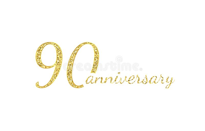 90 anniversary logo concept. 90th years birthday icon. Isolated golden numbers on black background. Vector illustration stock illustration