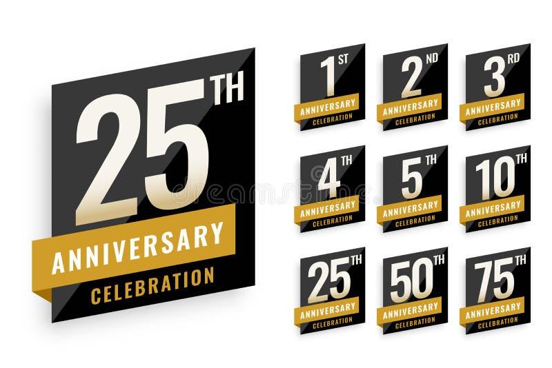 Anniversary logotype labels set design stock illustration
