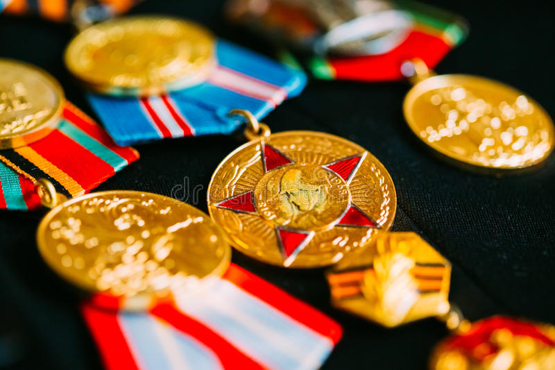 Anniversary Medals Of A Victory In The Great Patriotic War On Co. Medals of a victory in the Great Patriotic War on the parade uniform of the veteran of the stock photos