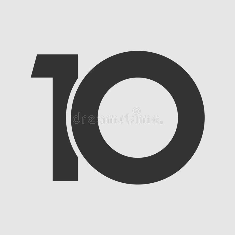 10 anniversary minimal simple. 10 th years old logotype. Isolated simple abstract graphic symbol of 10%. Straight elegant cut number design template. Round shape vector illustration