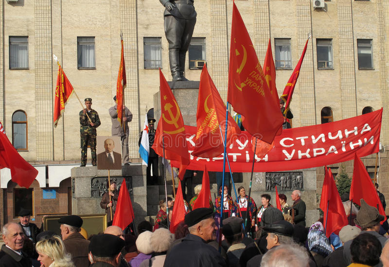 An anniversary of October Revolution. November 07 2010 in Kirovograd, Ukraine. A meeting by the reason of an anniversary of October Revolution royalty free stock image