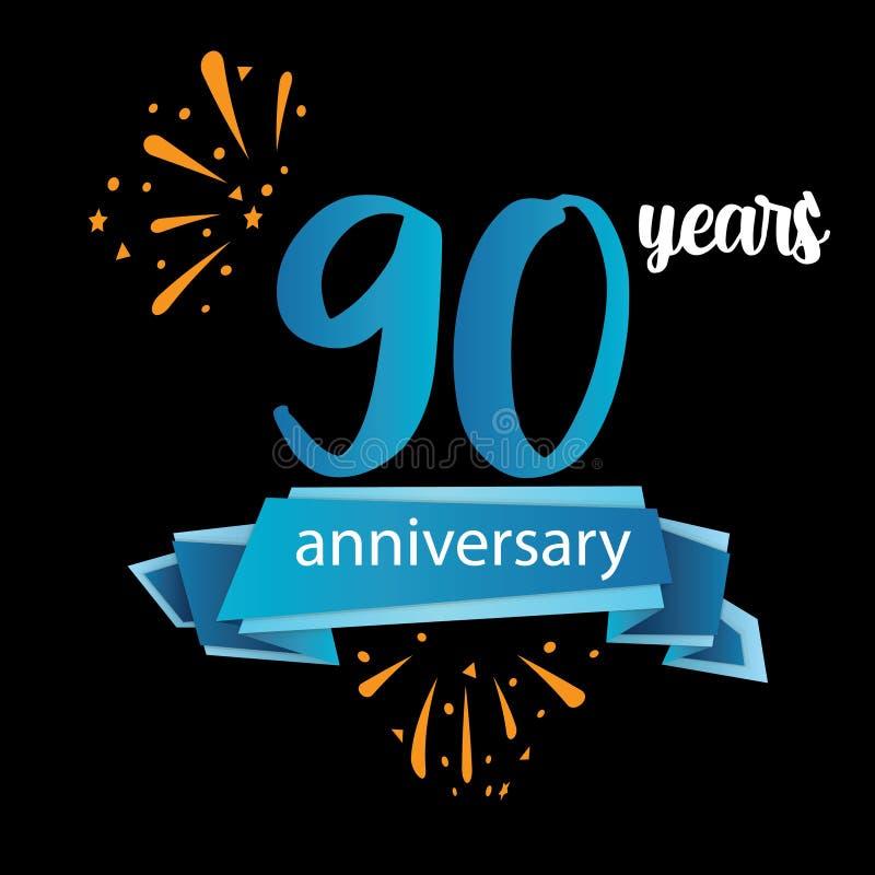 90 anniversary pictogram icon, years birthday logo label. Vector illustration. Isolated on black background - Vector stock illustration