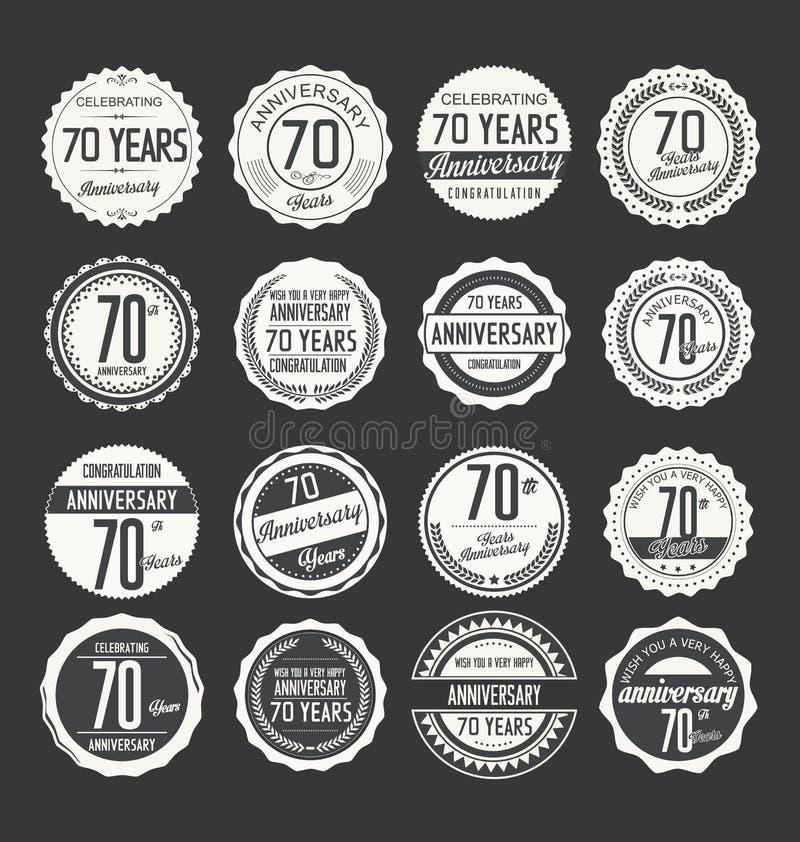 Anniversary retro badge collection, 70 years stock illustration