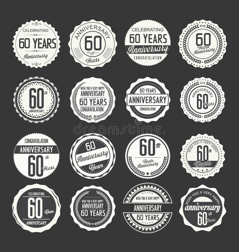 Anniversary retro badge collection, 60 years royalty free illustration