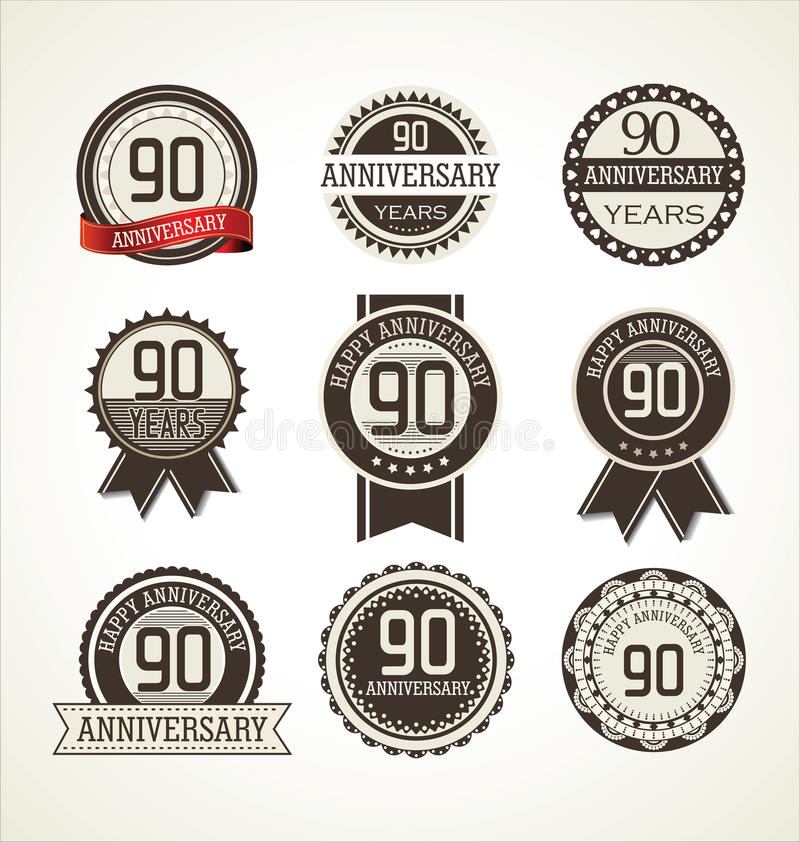 Anniversary retro labels collection 90 years. Illustration royalty free illustration