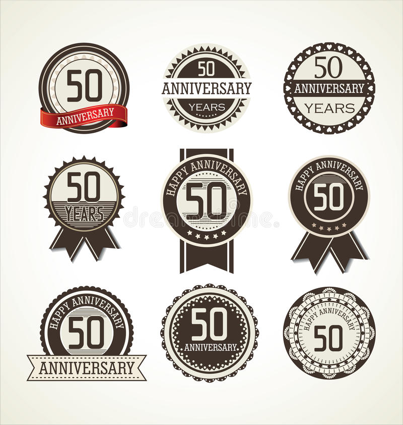 Anniversary retro labels collection 50 years. Illustration stock illustration
