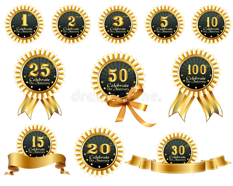 Download Anniversary ribbons stock vector. Image of signs, elements - 32394744