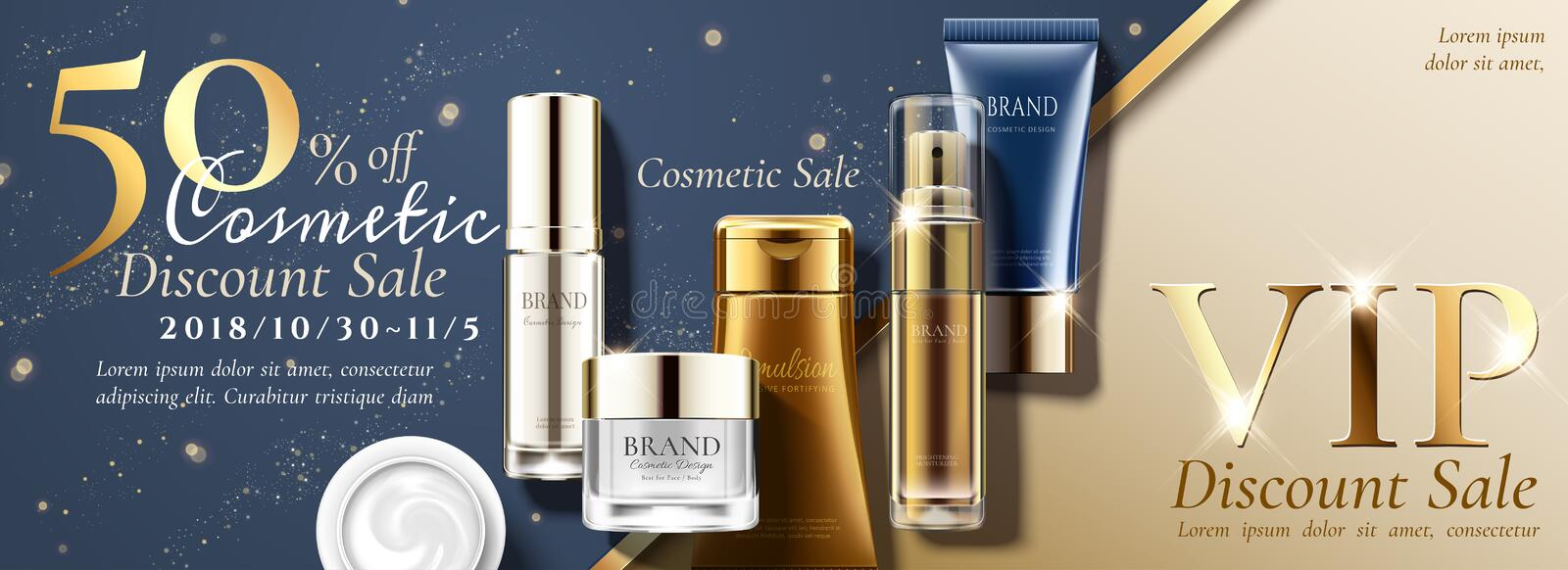 Anniversary sale banner ads. With set of skin care products on glitterng background in 3d illustration stock illustration
