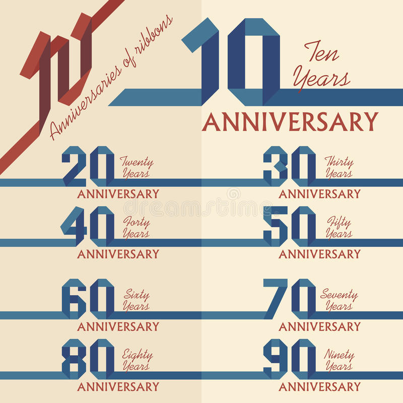 Anniversary sign collection stock illustration