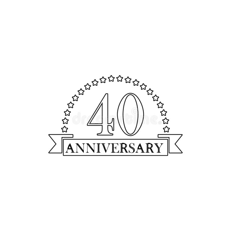 40 anniversary sign. Element of anniversary illustration. Premium quality graphic design icon. Signs and symbols collection icon royalty free illustration