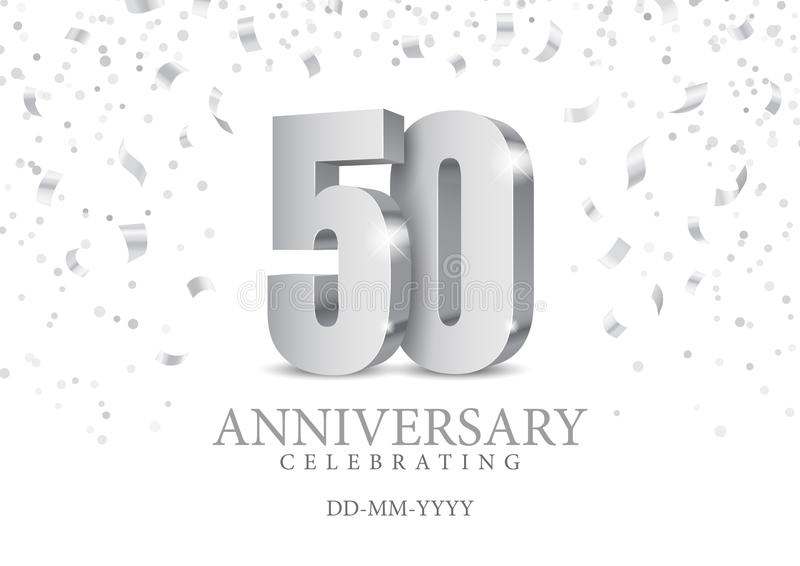 Anniversary 50. silver 3d numbers. Poster template for Celebrating 50th anniversary event party. Vector illustration royalty free illustration