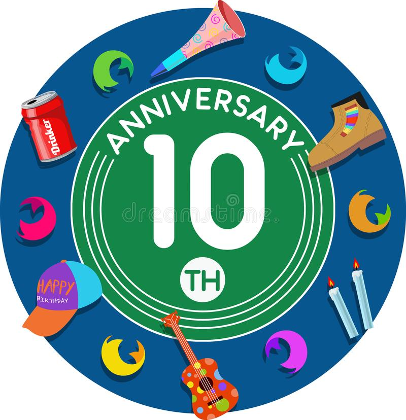 Anniversary 10th. Set of anniversaries from 10 to 50. vector illustration