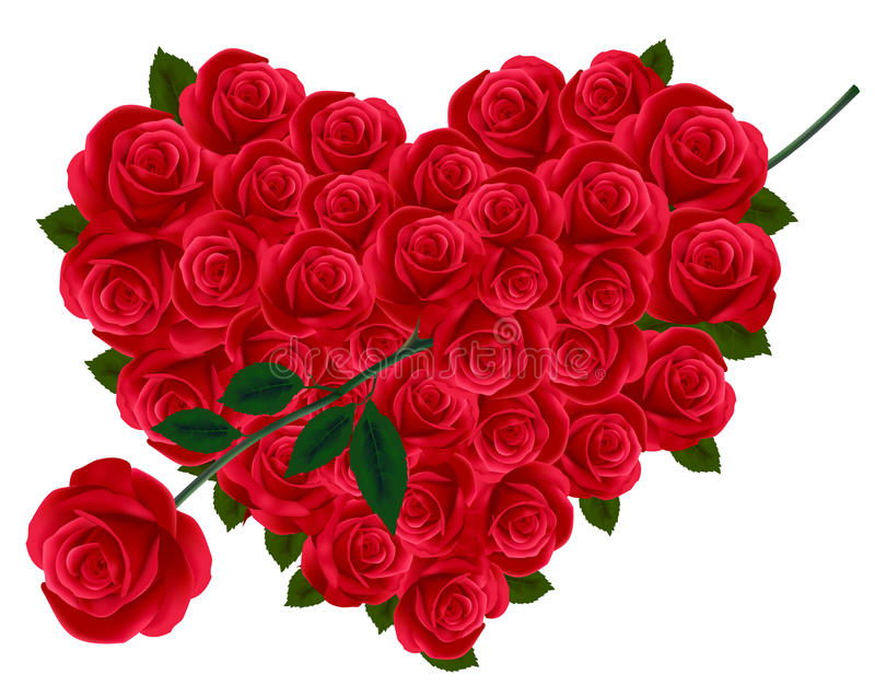 Anniversary Or Valentine Heart Made Out Of Roses Royalty Free Stock Photos