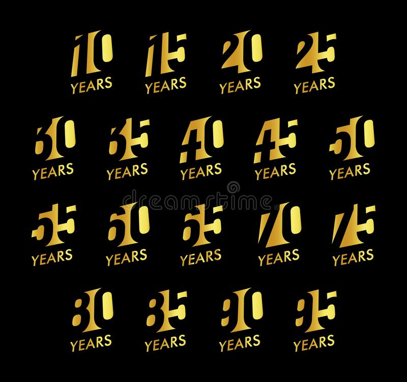 Anniversary vector numbers set. Birthday celebration logo collection. Golden years signs on black background. Jubilee royalty free illustration