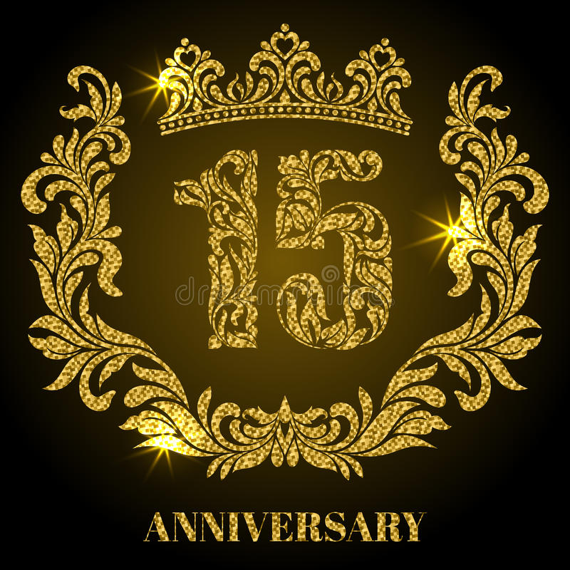 Anniversary of 15 years. Digits, frame and crown made in swirls stock illustration