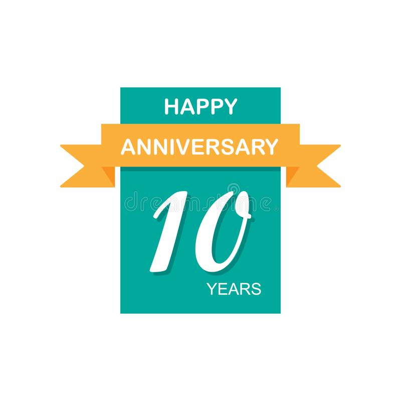 Anniversary, 10 years multicolored icon. Can be used for web, logo, mobile app, UI, UX royalty free illustration