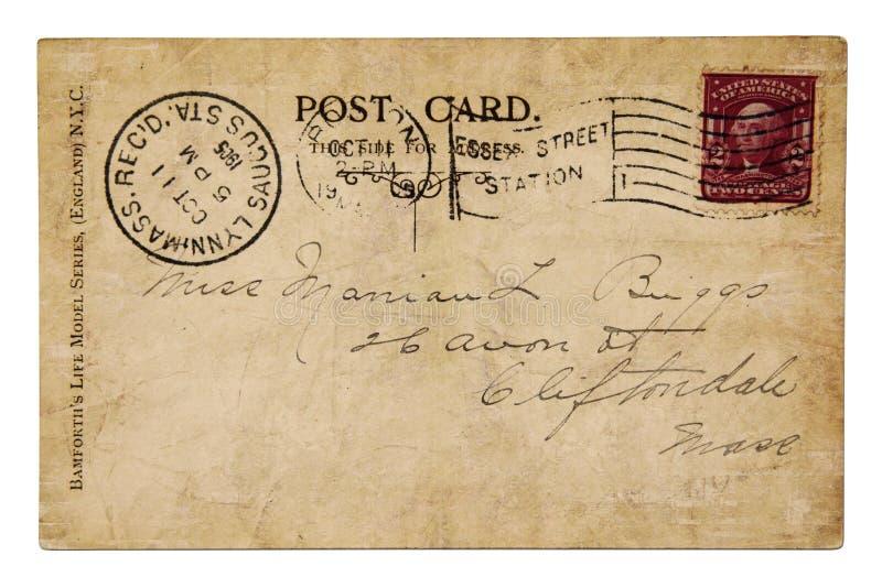 Anno 1905 della cartolina dell'annata immagini stock libere da diritti