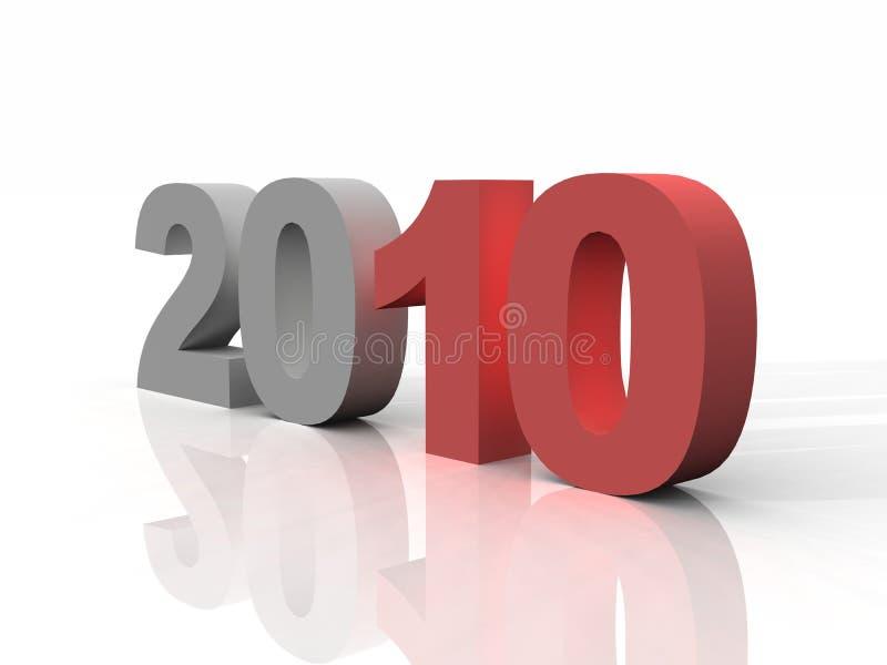 Anno 2010 in rosso ed in grigio illustrazione vettoriale