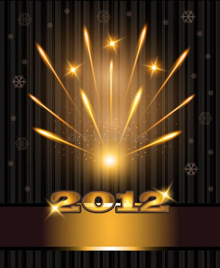 Anno 2012 di congratulazioni dei fuochi d'artificio nuovo illustrazione di stock