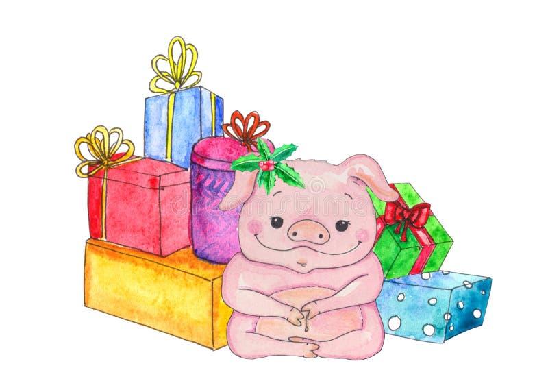 Anno cinese del maiale Cartolina d'auguri di nuovo anno Illustrazione di porcellino del fumetto dell'acquerello  Isolato su bianc royalty illustrazione gratis