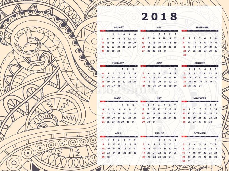 Anno civile del modello di zen di groviglio di colore del grano 2018 illustrazione vettoriale