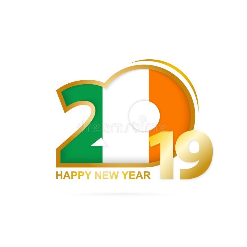 Anno 2019 con il modello della bandiera dell'Irlanda Disegno di nuovo anno felice royalty illustrazione gratis