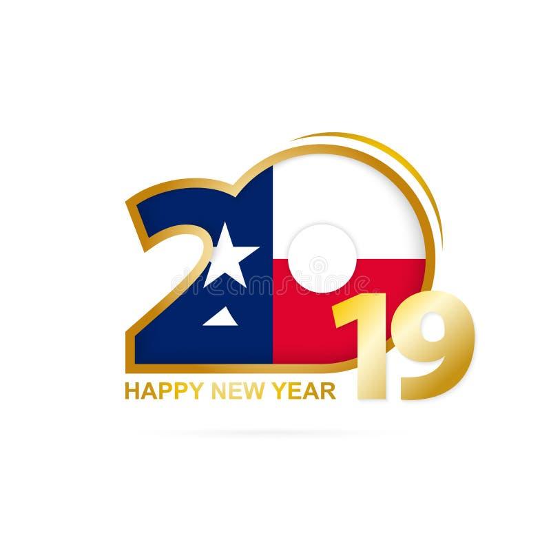 Anno 2019 con il modello di Texas Flag Disegno di nuovo anno felice illustrazione vettoriale