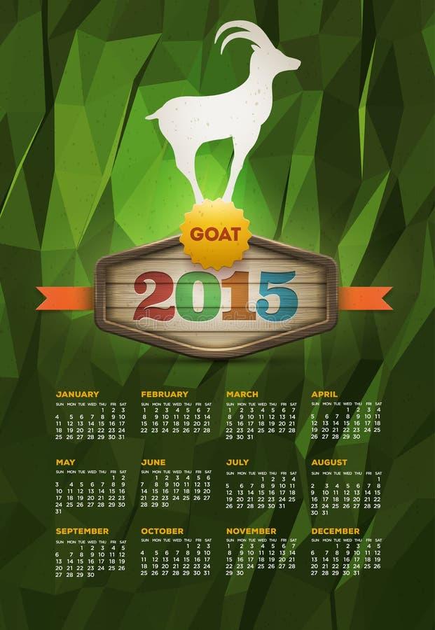 Anno del calendario della capra 2015 illustrazione di stock