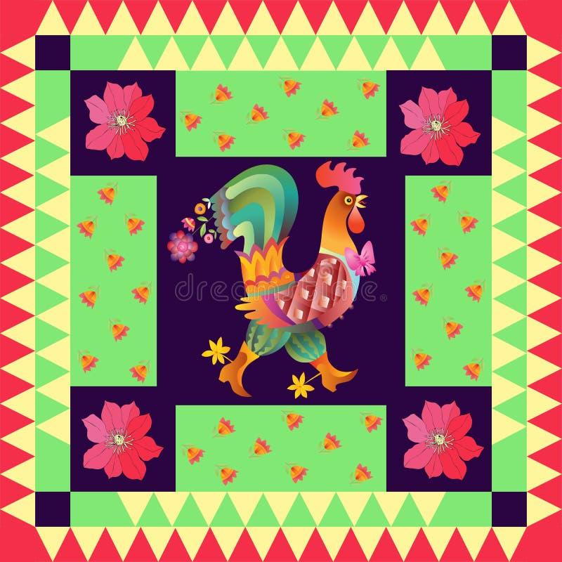 Anno del gallo Bella trapunta con il gallo sveglio ed i fiori luminosi royalty illustrazione gratis