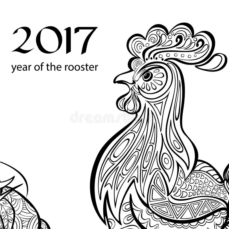 Anno del gallo Immagine in bianco e nero a nello zentangl di stile Coloritura per gli adulti immagini stock