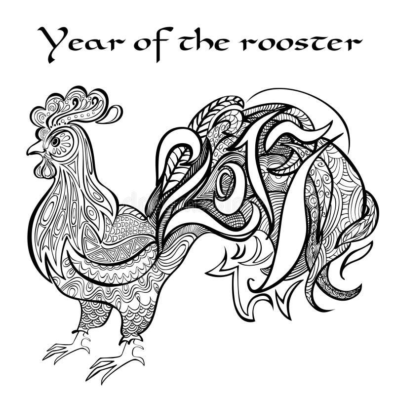 Anno del gallo Immagine in bianco e nero a nello zentangl di stile Coloritura per gli adulti fotografie stock
