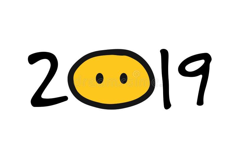 anno 2019 del maiale per la vostra progettazione royalty illustrazione gratis