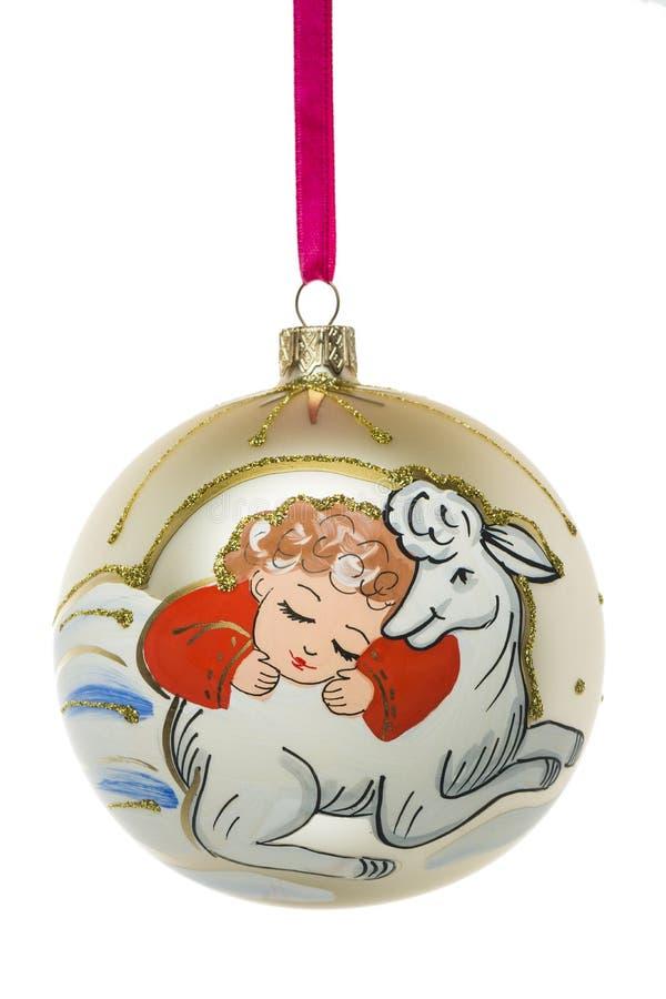 Anno della bagattella di Natale delle pecore isolata su fondo bianco immagini stock