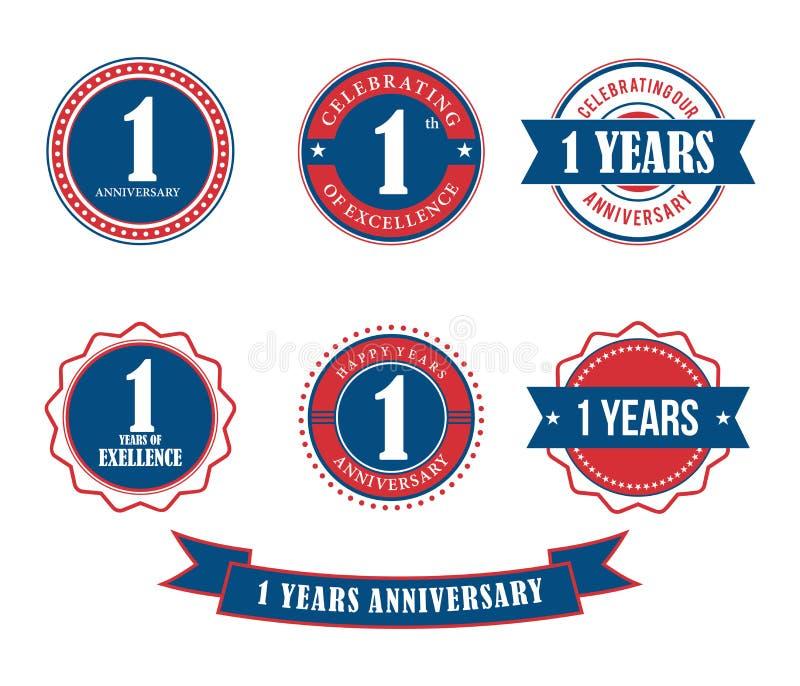 1 anno di anniversario del distintivo dell'emblema di vettore del bollo illustrazione vettoriale
