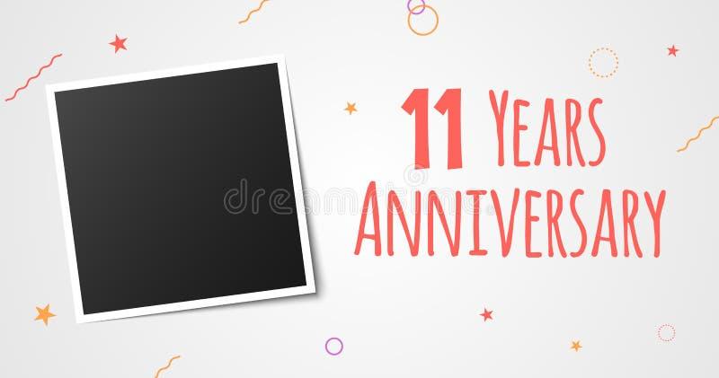 11 anno di anniversario della foto di carta della struttura progettazione elegante del modello di undicesimo di anno vettore di a royalty illustrazione gratis