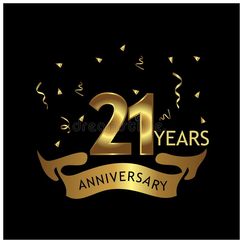 21 anno di anniversario dorato progettazione del modello di anniversario per il web, gioco, manifesto creativo, libretto, opuscol royalty illustrazione gratis