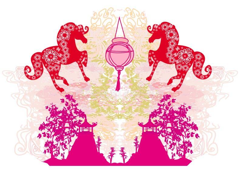 Anno di cavallo - nuovo anno cinese 2014 illustrazione vettoriale