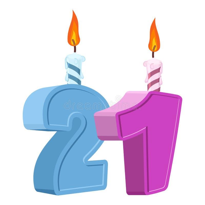 21 anno di compleanno Numero con la candela festiva per il dolce di festa royalty illustrazione gratis