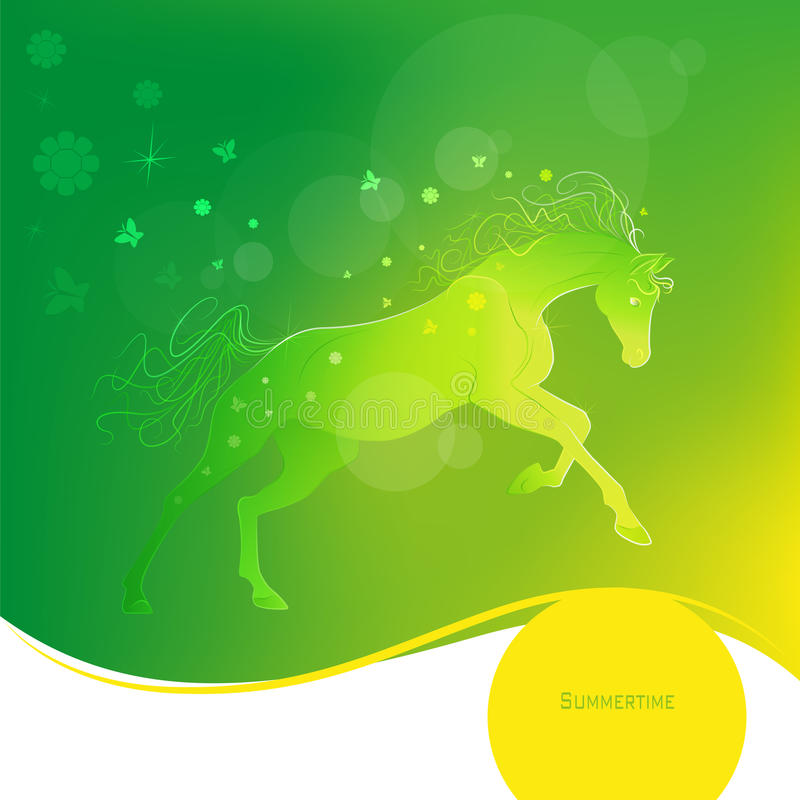 Anno di tempo - estate Illustrazione brillantemente d'ardore di vettore di un cavallo galoppante Fondo succoso di verde giallo Pr illustrazione di stock